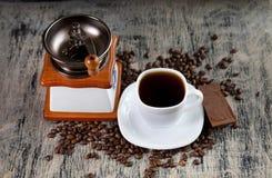 Kop van koffie en chocolade Stock Afbeelding
