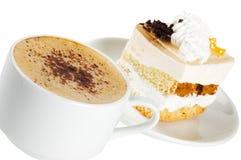 Kop van koffie en een cake Royalty-vrije Stock Afbeelding