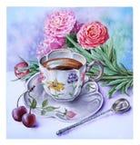 Kop van koffie en een oud zilveren theelepeltje stock illustratie