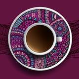 Kop van koffie en hand getrokken ornament Royalty-vrije Stock Foto's