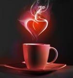 Kop van koffie en hart Stock Foto's