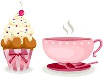 Kop van koffie en leuke kopcake Stock Afbeeldingen