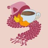 Kop van koffie en roze sjaal Vector Illustratie