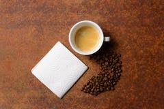 Kop van koffie en servet Royalty-vrije Stock Afbeelding
