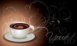 Kop van koffie met bloemenachtergrond Royalty-vrije Stock Afbeeldingen