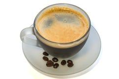 Kop van koffie met bonen stock foto