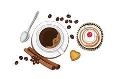 Kop van koffie met cake royalty-vrije stock afbeelding