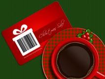 Kop van koffie met de coupon van de Kerstmisverkoop op tafelkleed Royalty-vrije Stock Foto