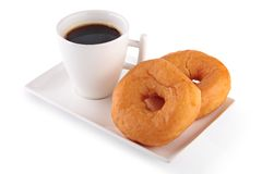 Kop van koffie met donuts Royalty-vrije Stock Foto's