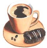 Kop van koffie met een suikergoed Stock Fotografie