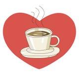 Kop van koffie met hartvorm stock illustratie