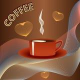 Kop van koffie met herten op samenvatting backgraound Stock Afbeelding