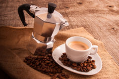Kop van koffie met Italiaanse moka Stock Foto