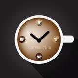 Kop van koffie met klokoppervlakte stock afbeeldingen