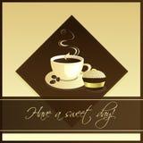 Kop van koffie met kopcake Stock Foto