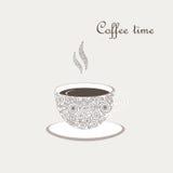 Kop van koffie met krullende ontwerpelementen vector illustratie