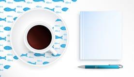 Kop van Koffie met marien patroon Royalty-vrije Stock Afbeeldingen