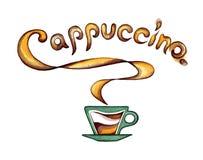 Kop van koffie met melk en op smaak gebrachte cappuccinoinschrijving Royalty-vrije Stock Afbeelding