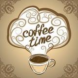 Kop van koffie met ornamentenelementen Vector illustratie Royalty-vrije Stock Afbeeldingen