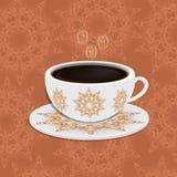 Kop van koffie met overladen oostelijke ronde elementen Royalty-vrije Stock Foto's