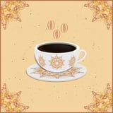 Kop van koffie met overladen oostelijke ronde elementen Stock Afbeeldingen
