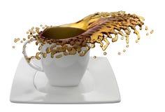 Kop van koffie met plonsen, op wit wordt geïsoleerd dat Stock Foto