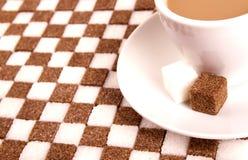 Kop van koffie met suiker. stock foto