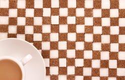 Kop van koffie met suiker. royalty-vrije stock afbeelding