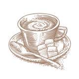Kop van koffie met suiker en theelepeltje Stock Fotografie