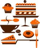 Kop van koffie met verscheidene desserts en gebakje Stock Afbeeldingen