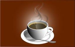 Kop van koffie op bruine achtergrond Vector illustratie Royalty-vrije Stock Foto's