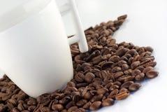 Kop van koffie op coffeebeans die op wit wordt geïsoleerds Stock Afbeeldingen