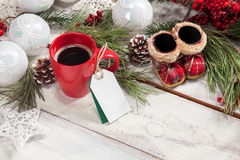 Kop van koffie op de houten lijst Royalty-vrije Stock Fotografie