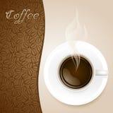 Kop van Koffie op Document Achtergrond Royalty-vrije Stock Afbeelding