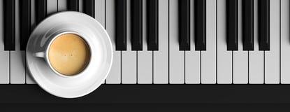 Kop van koffie op een piano, hoogste mening, banner 3D Illustratie Stock Afbeelding