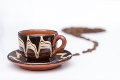 Kop van koffie op een witte achtergrond stock foto