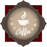 Kop van koffie op het embleem royalty-vrije stock afbeeldingen