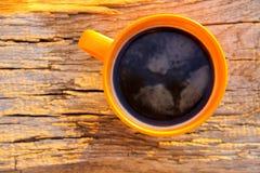 Kop van koffie op houten lijst Royalty-vrije Stock Fotografie