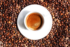 Kop van koffie op oude houten lijst Royalty-vrije Stock Afbeelding