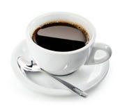 Kop van koffie op schotel met lepel Royalty-vrije Stock Afbeelding