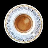 Kop van koffie op zwarte achtergrond Royalty-vrije Stock Foto's