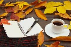 Kop van koffie, open notitieboekje, pen en sjaal onder de herfst gevallen bladeren op houten lijst stock afbeelding
