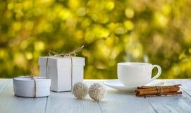 Kop van koffie openlucht met de ballenzonneschijn van het kokosnotensuikergoed op een whi Royalty-vrije Stock Foto