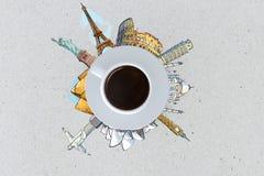 Kop van koffie reizend concept Royalty-vrije Stock Foto