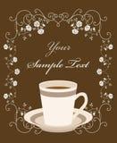 Kop van koffie. Retro frame vector illustratie