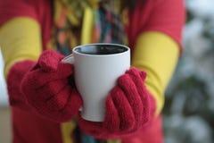 Kop van koffie tevreden Stock Afbeeldingen