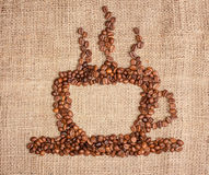 Kop van koffie van bonen Stock Foto