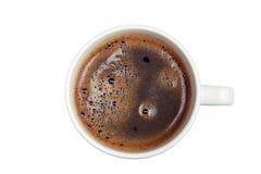 Kop van koffie vanaf de bovenkant op wit wordt geïsoleerd dat Royalty-vrije Stock Afbeelding