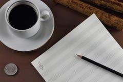 Kop van koffie voor de componist Royalty-vrije Stock Foto's