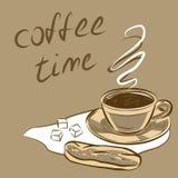 Kop van koffie voor menu Vector illustratie Stock Fotografie